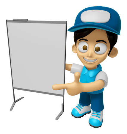 mankind: 3D Delivery Service Man Mascot is presentation in front of the a briefing chart. Work and Job Character Design Series 2. Stock Photo