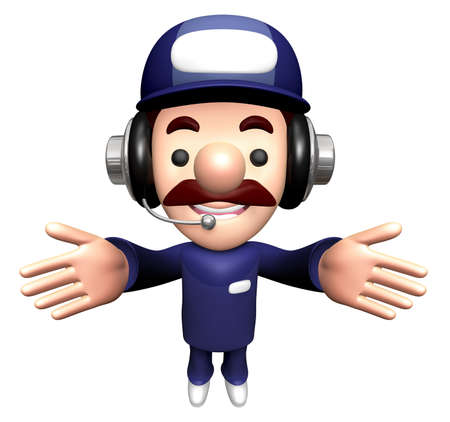 3D Repair Person Mascot is welcome. Stock Photo
