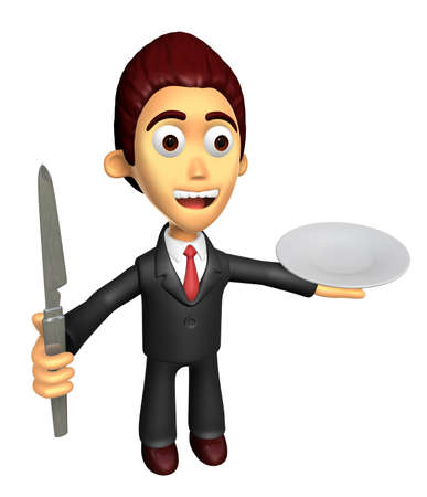 3D Business man Mascot the hand is holding a knife and plate. Work and Job Character Design Series.