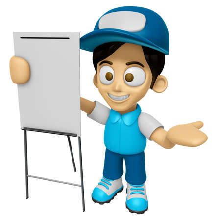 distribution board: 3D Delivery Service Man Mascot is concise explanation of a whiteboard. Work and Job Character Design Series 2.