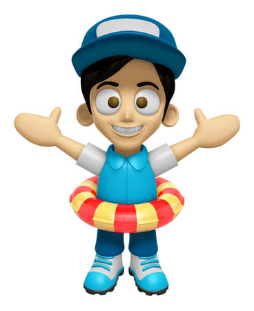 3D Delivery Service Man Mascot is played in the pool on a tube. Work and Job Character Design Series 2. Stock Photo