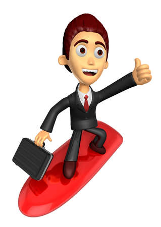 literacy: 3D Business man Mascot balancing on a surfboard best gesture. Work and Job Character Design Series.