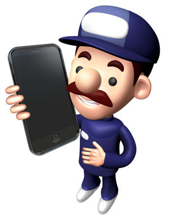 3D Repairman Character Calling on smartphone.