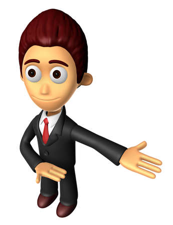 3D Business man mascot Suggests the direction. Work and Job Character Design Series.