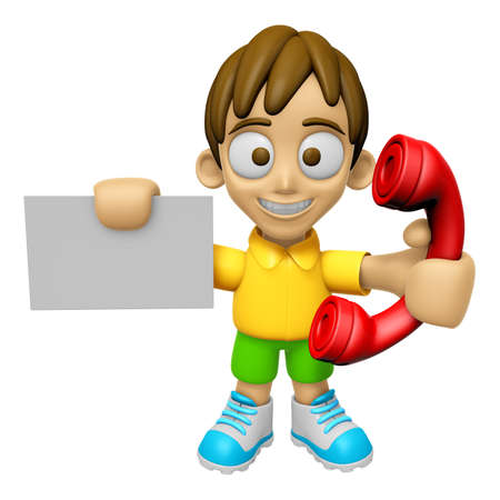 3D Child Mascot hand is holding a business card and telephone. Work and Job Character Design Series 2.