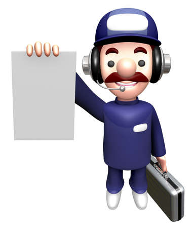 3D Service Mascot holding an order page.