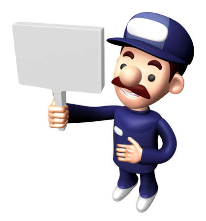 3D Service Character is holding a Picket.