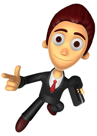 powerfully: 3D Business man character on powerfully Running. Work and Job Character Design Series.