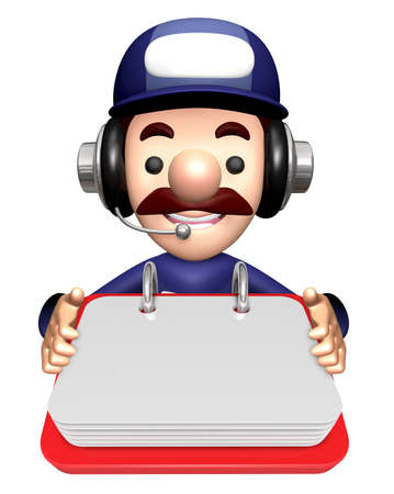 3D Technician Mascot is holding the Memo Note. Stock Photo