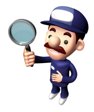 3D Mechanic Character is holding the Magnifier.