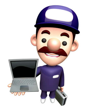 3D Specialist Character is holding a Laptop. Stock Photo