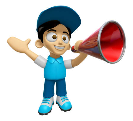 3D Delivery Service Man Mascot is speakn through a megaphone. Work and Job Character Design Series 2.