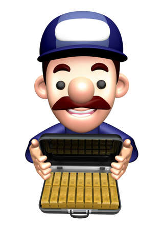 3D Engineer Character is holding a Gold Bullion Attach Case. Stock Photo