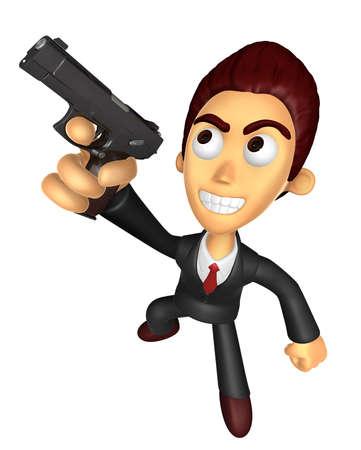 3D Business man Mascot fire an aimed shot a automatic pistol. Work and Job Character Design Series. Stok Fotoğraf - 83283776