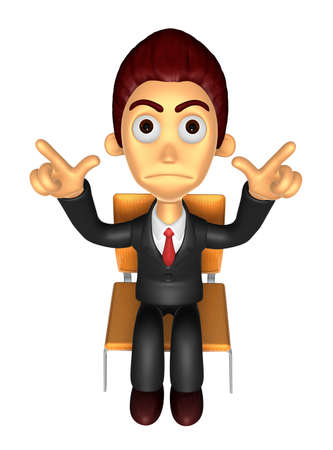 dissatisfaction: 3D Business man Mascot Pointing fingers gesture of anger. Work and Job Character Design Series. Stock Photo