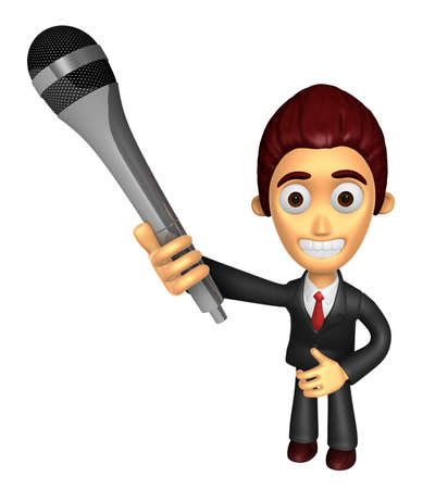 3D Business man Mascot is holding a microphone. Work and Job Character Design Series.