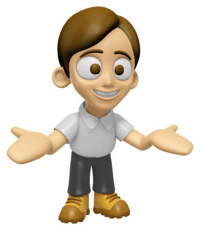 greet: 3D Man Mascot the direction of pointing with both hands. Work and Job Character Design Series 2. Stock Photo