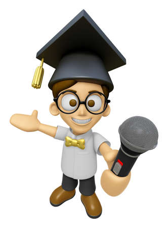 doctorate: 3D Scholar Man Mascot the hand is holding a Microphone. Work and Job Character Design Series 2. Stock Photo