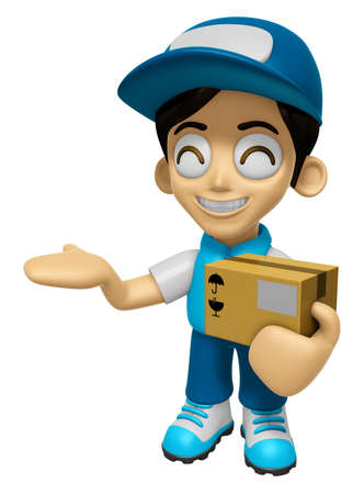 mankind: 3D Delivery Service Man Mascot is Kindly courier holding the box. Work and Job Character Design Series 2. Stock Photo