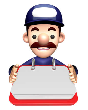 3D Repairman Character is holding the Memo Note.