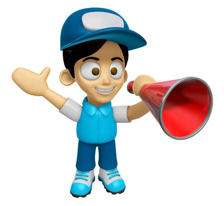 mankind: 3D Delivery Service Man Mascot is speakn through a megaphone. Work and Job Character Design Series 2.