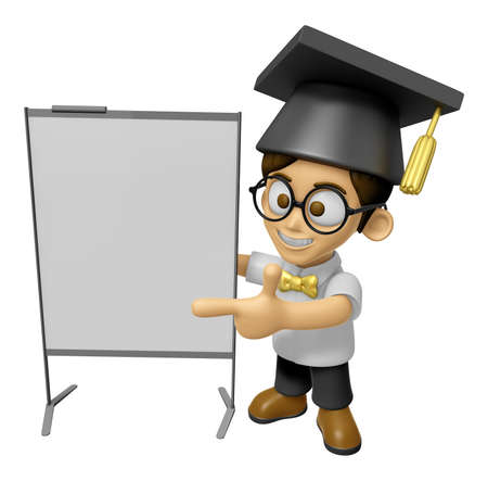 doctorate: 3D Scholar Man Mascot is presentation in front of the a briefing chart. Work and Job Character Design Series 2. Stock Photo