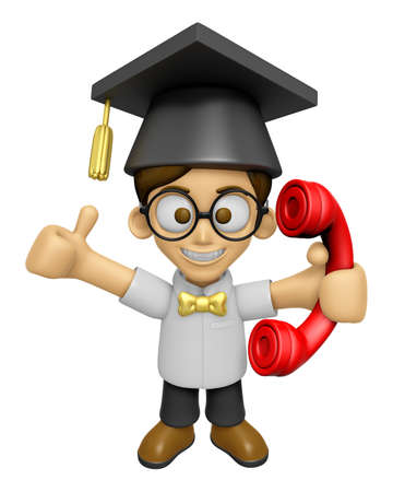 doctorate: 3D Scholar Man Mascot Please call me today. Work and Job Character Design Series 2.