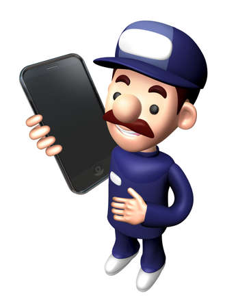 3D Technician Character Calling on smartphone.