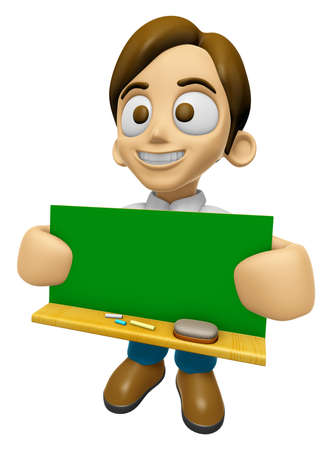 3D Man Mascot holding a big board with both Green chalkboard. Work and Job Character Design Series 2. Stok Fotoğraf