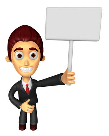 3D Business man Mascot hand is holding a Big advert board. Work and Job Character Design Series.