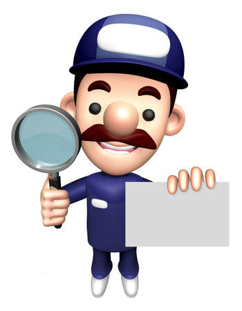 3D Repair Person Character is holding the Magnifier and Business Card.