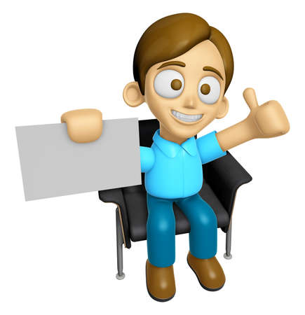 mankind: 3D Man Mascot is sitting on a chair assume the gesture of the best. Work and Job Character Design Series 2. Stock Photo
