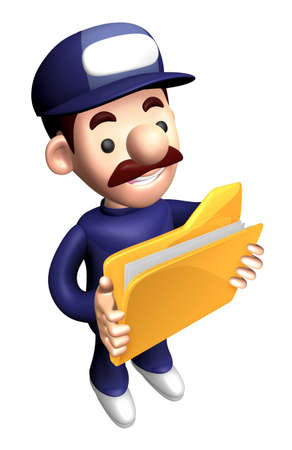 3D Service Character is holding a File Folder.
