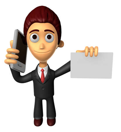 3D Business man Mascot the hand is holding a Smart Phone and business cards. Work and Job Character Design Series.