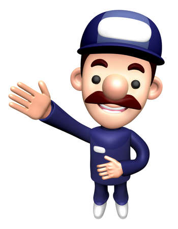 3D Specialist Character is a guide gesture. Stock Photo