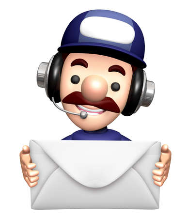 3D Technician Mascot is holding a Epistle. Stock Photo
