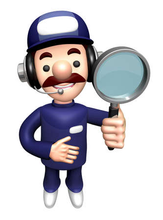 3D Engineer Mascot is holding a Magnifying Glass.
