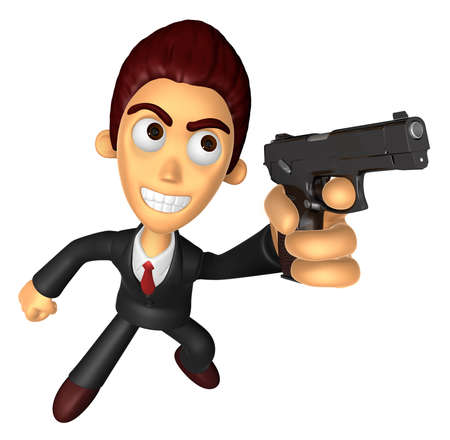 3 D ビジネスの男性のマスコットは、自動拳銃ポーズを保持しています。仕事と仕事のキャラクターのデザインのシリーズ。