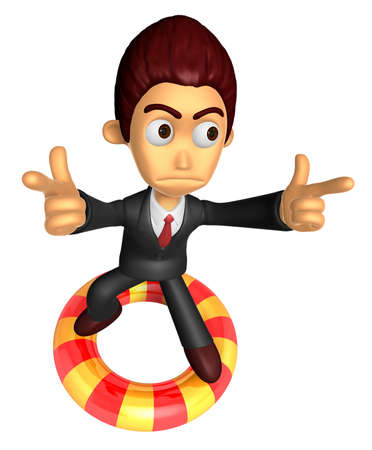 3D Business man Mascot To point the finger at you with both hands dip tube ride. Work and Job Character Design Series.
