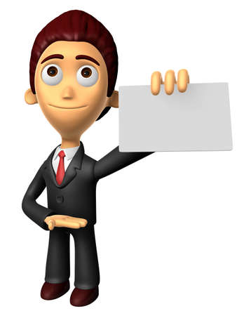 3D Business man Mascot the hand is holding a business cards. Work and Job Character Design Series. Stock Photo