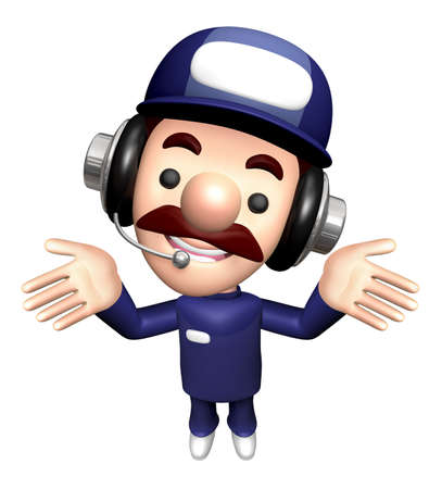 3D Specialist Mascot takes a gesture that he can not know. Stock Photo