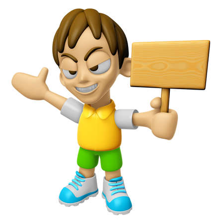 3D Child Mascot the hand is holding a picket. Work and Job Character Design Series 2.