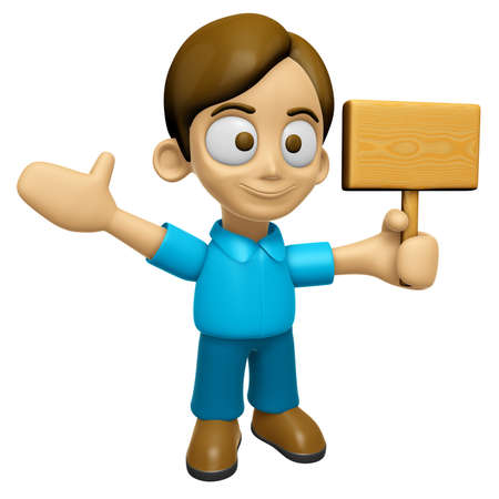 3D Man Mascot the hand is holding a picket. Work and Job Character Design Series 2. Stock Photo