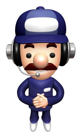 3D Service Mascot Kindly greet. Stock Photo
