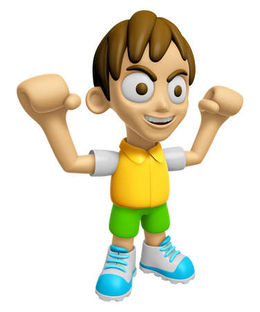 3D Child Mascot is fighting gestures. Work and Job Character Design Series 2.