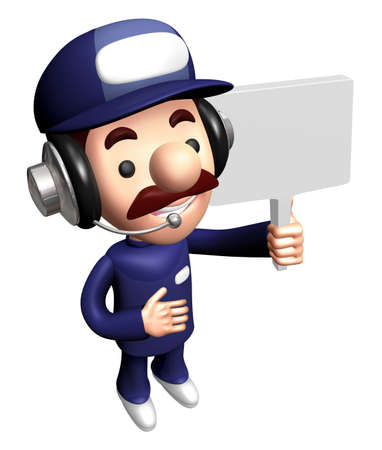 3D Specialist Mascot is holding a Picket. Stock Photo