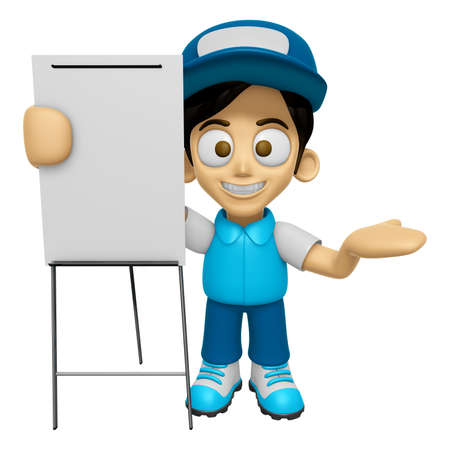 3D Delivery Service Man Mascot is concise explanation of a whiteboard. Work and Job Character Design Series 2.