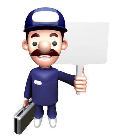 3D Mechanic Character is holding a Picket and Briefcase.