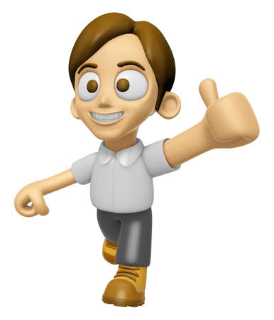 3D Man Mascot the best hand gesture. Work and Job Character Design Series 2. Stock Photo