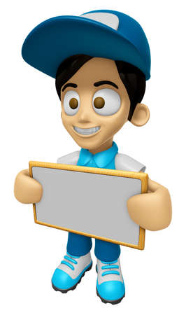 distribution board: 3D Delivery Service Man Mascot holding a big board with both hands. Work and Job Character Design Series 2. Stock Photo
